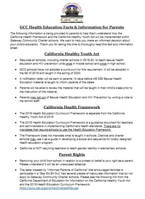 GCC Health Education Facts Information for Parents